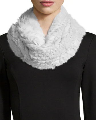 Colorblock Rabbit Fur Vest, Rabbit Fur Infinity Scarf & Leather-Piped ...