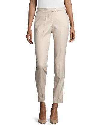 Skinny-Leg Cotton Pants, Dune
