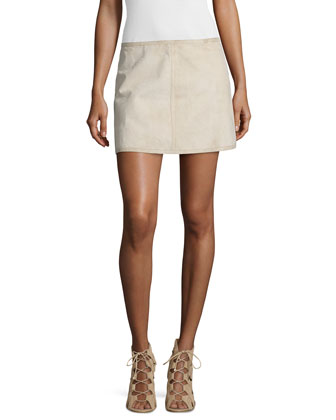 Bonded Tissue-Suede Mini Skirt, Desert