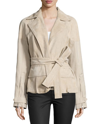 Long-Sleeve Bonded-Tissue Suede Jacket, Desert