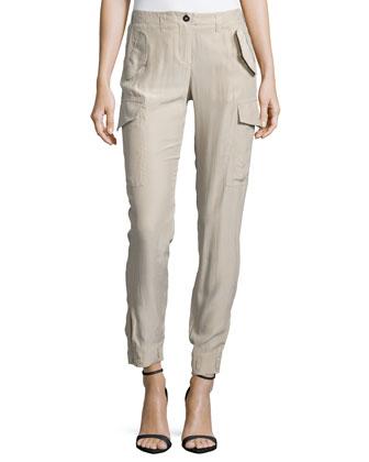 Skinny-Leg Cargo Pants, Burlap
