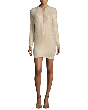 Layered Crystal Long-Sleeve Dress, Gold
