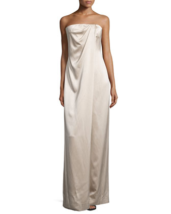 Strapless Draped-Front Jumpsuit, Desert