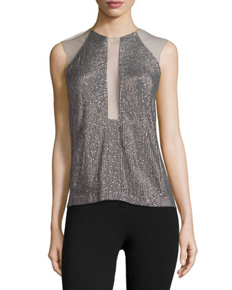 Sleeveless Embellished Top, Carbon