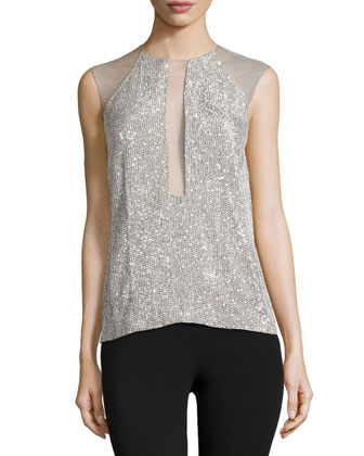 Sleeveless Embellished Top, Silver