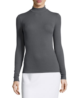 Mock-Neck Fitted Knit Top