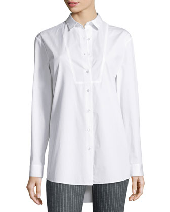 Cotton Boyfriend Blouse & Adjustable Pinstripe Cropped Dress Pants