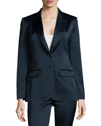 Stretch-Satin Suiting Blazer