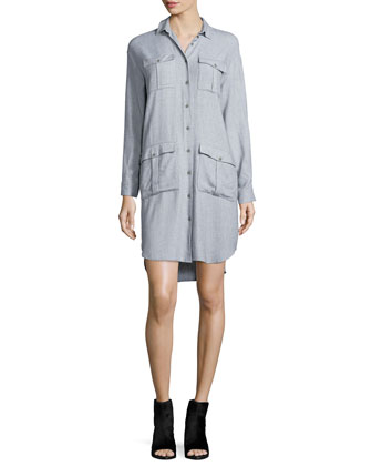 Loose Cotton Utility Shirtdress