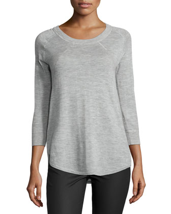 Scoop-Neck Cashmere Slub Sweater