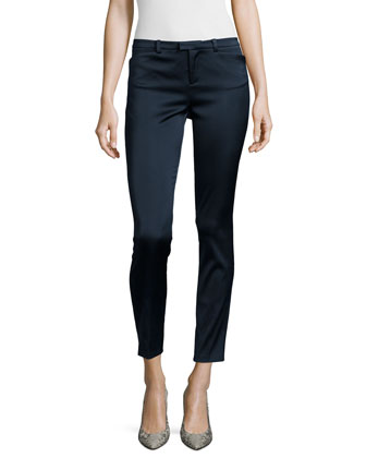 Slim Straight-Leg Cropped Pants