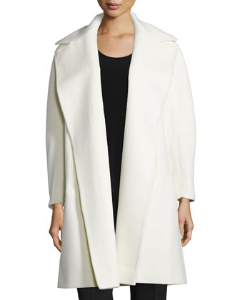 A-line Open-Front Wool Coat