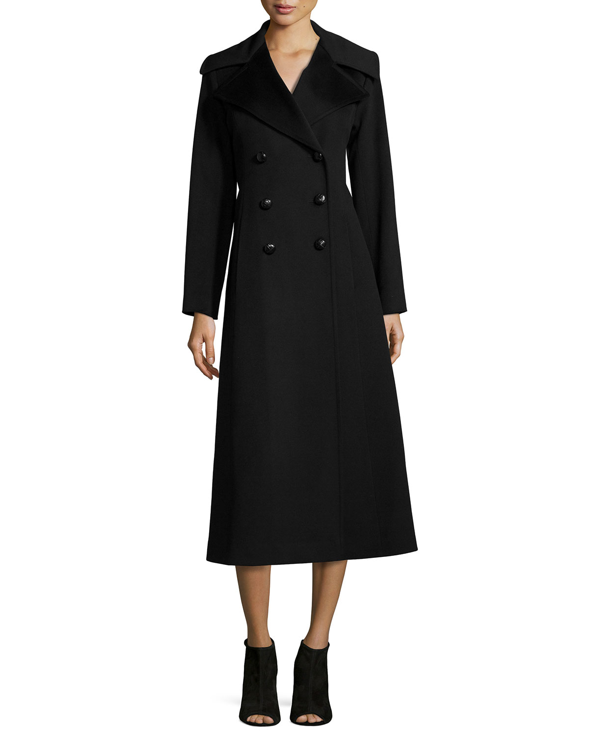 Double-Breasted Wool Maxi Coat, Size: 16, BLACK - Fleurette