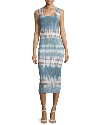Denny Sleeveless Tie-Dye Dress, Cobalt