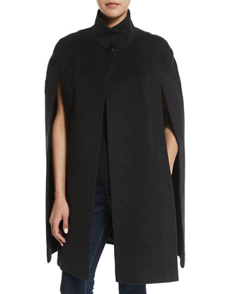 Stand Collar Wool Cape