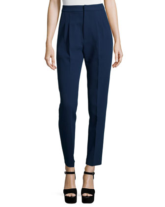 Tailored High-Waist Crepe Pants, Navy