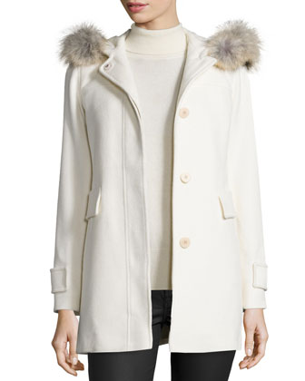 Hooded Wool Duffle Coat with Fur Trim