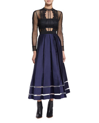 Long-Sleeve Mesh & Satin A-Line Dress, Black/Blue