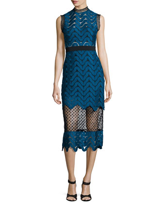 Scalloped Mixed-Lace Midi Dress, Teal