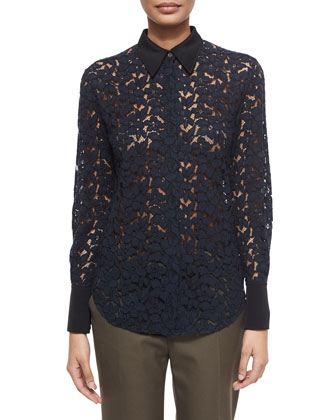 Classic Lace Button-Down Blouse, Midnight
