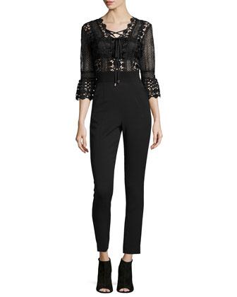 3/4-Sleeve Lace & Crepe Jumpsuit, Black