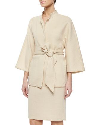 Mandarin Collar Belted Jacket, Ecru