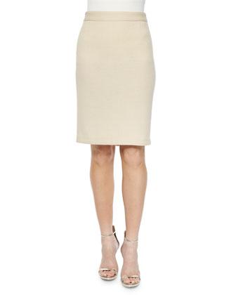 Banded-Waist Pencil Skirt, Ecru