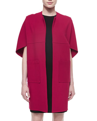 Fortune Cookie Short-Sleeve Coat & Jewel-Neck Sleeveless Shift Dress