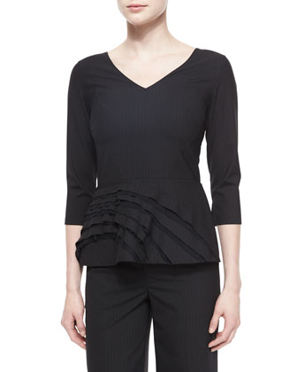 Pinstripe 3/4-Sleeve Peplum Top, Black