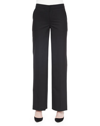 Pinstripe Full-Leg Pants, Black