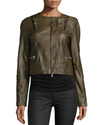 Long-Sleeve Cropped Leather Jacket, Cornichon