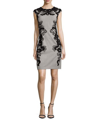 Cap Sleeve Scroll-Print Sheath Dress, Bisque