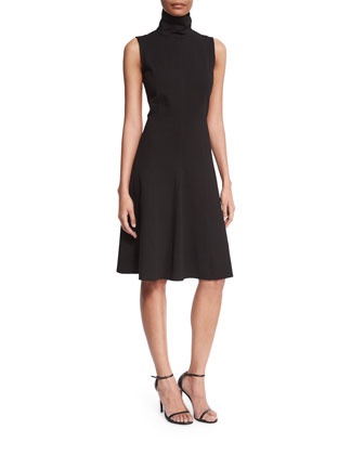Sleeveless Fit-&-Flare Dress, Black