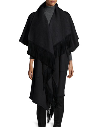 Midi Wool-Blend Wrap Coat W/ Fringe