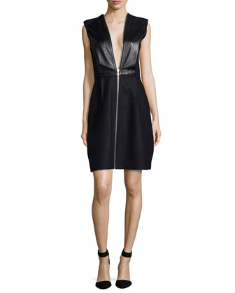 Sleeveless Leather Combo Dress, Onyx