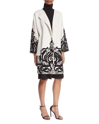 Long-Sleeve Embellished Topper Coat & Sleeveless Fit-&-Flare Dress