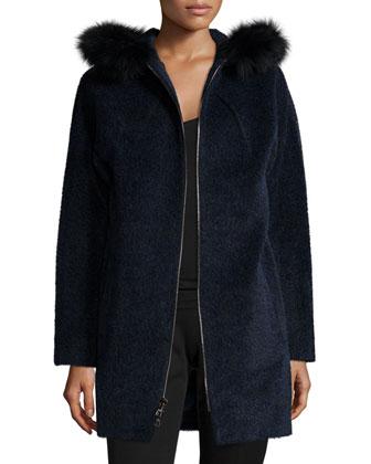 Wool-Blend Coat W/ Fur-Trim Hood