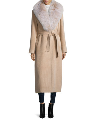 Long Alpaca-Blend Wrap Coat W/ Fox Fur Collar