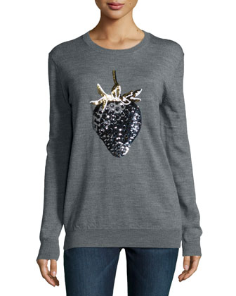 Strawberry Sequined Sweater, Medium Gray