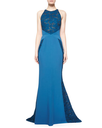 Jewel-Neck Gown W/Tonal Lace Inserts, Celestial