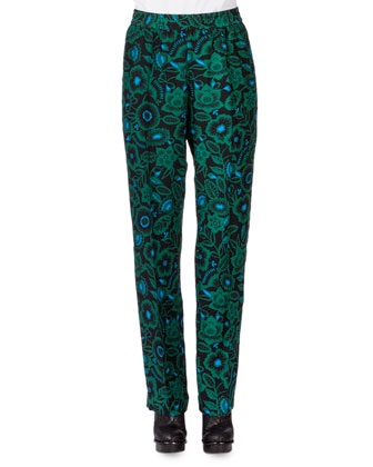 Shadow Flower Long-Sleeve Blouse & Silk Tapered-Leg Pants