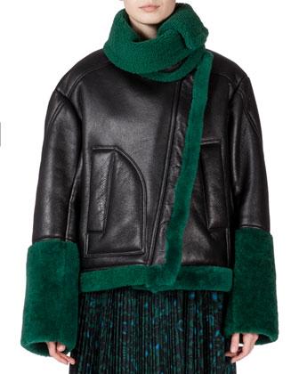 Oversized Jacket w/Contrasting Fur Trim, Shadow Flower Sheer Long-Sleeve ...