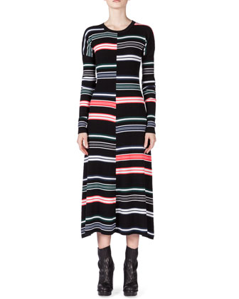 Striped Long-Sleeve Midi Dress, Black