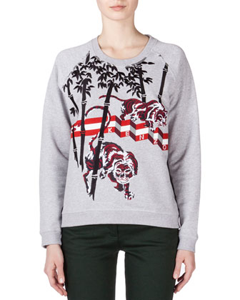 Bamboo & Tiger Embroidered Sweatshirt, Pale Gray