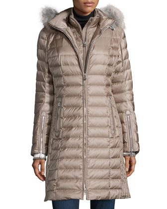 Lilia Puffer Coat W/ Fur-Trim Hood