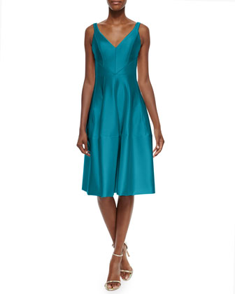 Deep-V Satin Dress w/Godet Skirt
