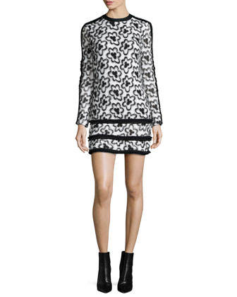 Edna Long-Sleeve Wildflower Sheath Dress, White/Black