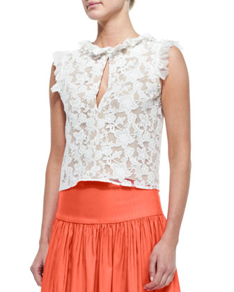 Fran Sleeveless Ruffle-Trim Lace Crop Top, White