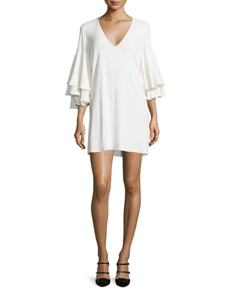 Harper Bell-Sleeve Mini Dress, White
