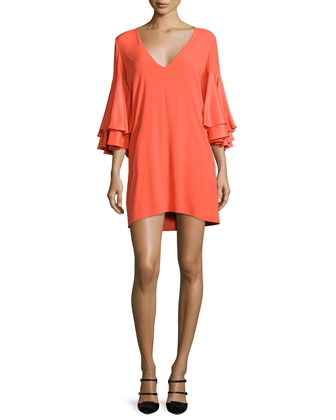 Harper Bell-Sleeve Mini Dress, Tangerine